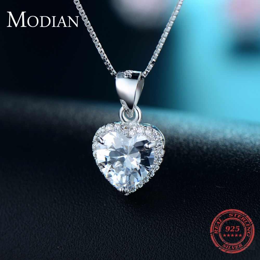 موديان 2020 تصميم جديد 925 فضة القلب قلادة موضة القلب واضح زركونيا الكلاسيكية سلسلة الزفاف مجوهرات للنساء