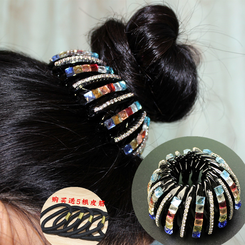 Shrinkable Hairpin 2017 New Womens Hair Accessories Bud Hair Clip Nest Shape Hair Ties Ponytail Holder Black Color Size