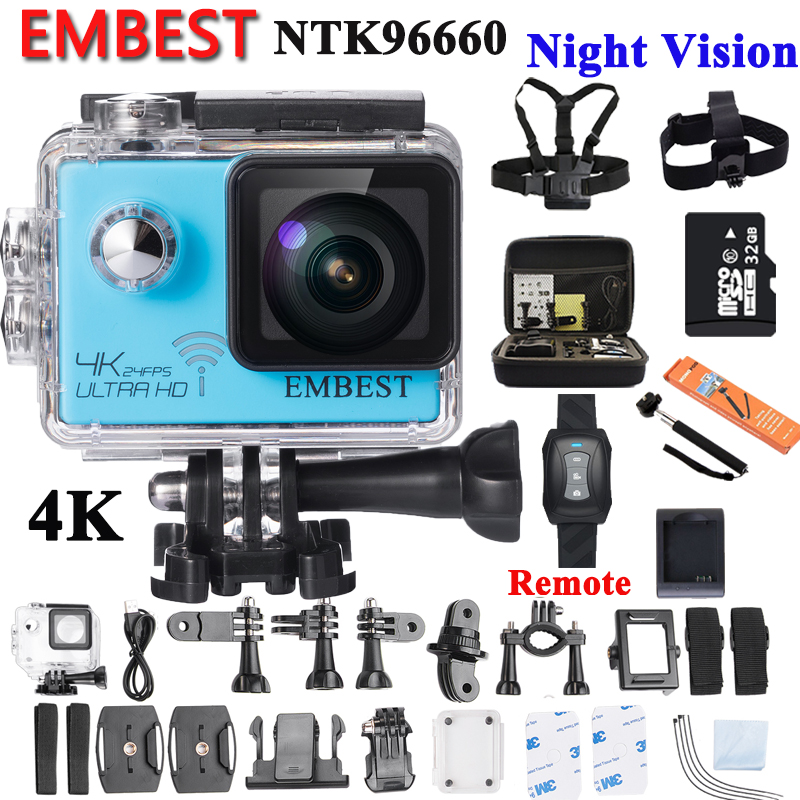 EMBEST Original Ultra HD 4K / 24fps Night Vision Camera 2.0 170D NTK96660 WiFi Waterproof Sports Action Cam With Gyro