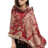 FASHION /100% Mulberry silk 100% Real Rex Rabbit Fur Plaid Shawl /cloak/ Poncho /Coat/ Cape/Wraps/red