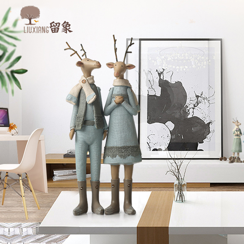 Lx Resin Deer Couple Collectible figurines Christmas Presents Animal Furnishing Articles Crafts House Decor Christmas Ornament Inventive Reward