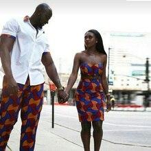 ec16115844bc Shenbolen 2017 afrikansk tøj Par kjole ankara stil voks print kvinder sæt  mænd toppe + bukser 2 stykker mod.