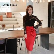 acf64f65d535c 2 piece set women s tops and skirts 2018 Autumn cotton Lace Mosaic Hollow  suits set ladies Skinny business suit twinset Girls