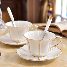 High quality Bone China Tea Cup Saucer Spoon Set Cafe Ceramic Coffee Elegant Advanced Porcelain Teacup wedding gift