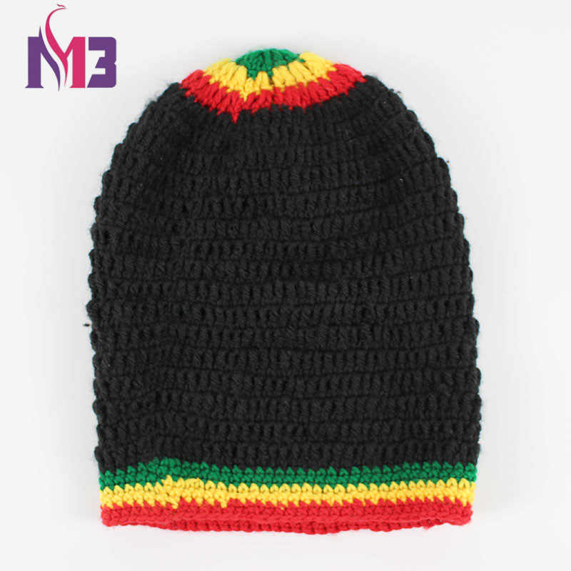 1b19c6e17e57d ... Fashion Unisex Rasta Hat Winter Warm Handmade Knitted Crochet Hats  Jamaican Beanie Caps Hip Hop Cap ...