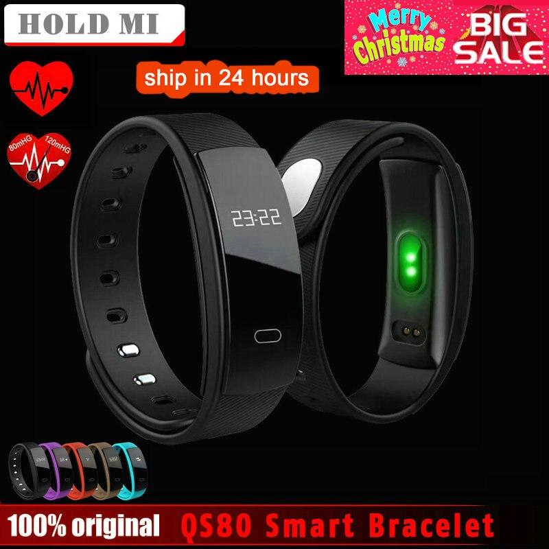 Espera Mi QS80 Bluetooth banda inteligente pulsera de la frecuencia cardíaca y la presión arterial sueño de vigilancia para IOS Android Smartphone