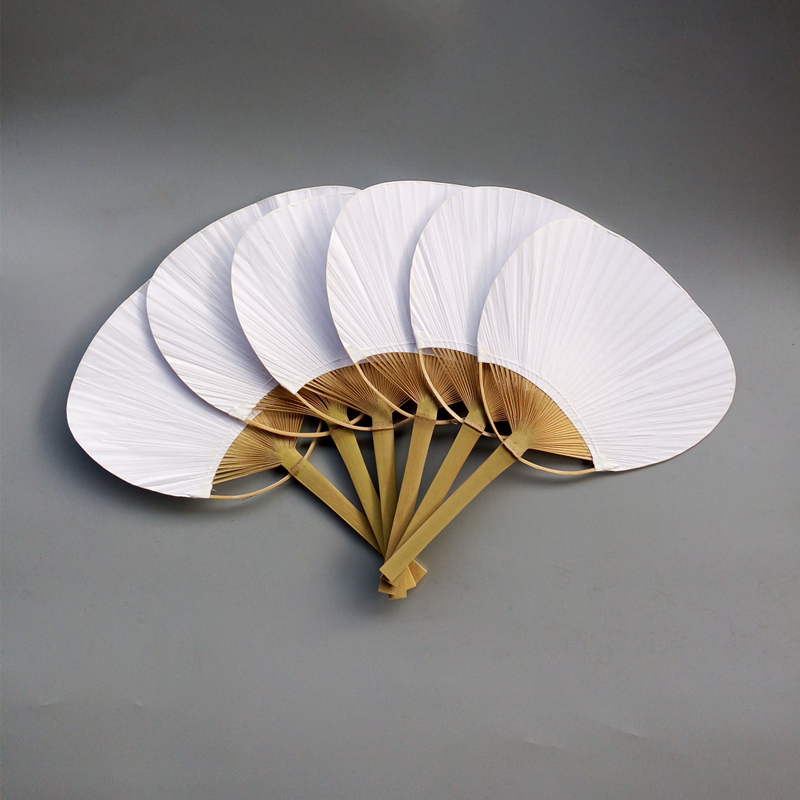 Handmade Paddle Paper Fan With Wooden Handle White Chinese Palace Round Fan Bridesmaids Wedding Favors Party Gifts 30 pcs Lot