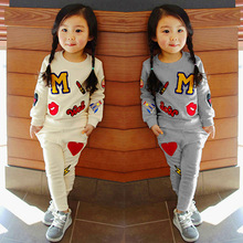 0be7385f5f Hot Baby kids Girl Sets Clothing 2019 Spring Autumn Korean Version of The  Round Neck Long