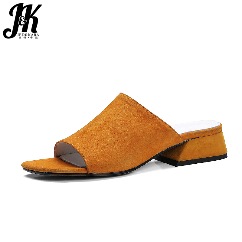 J&K Size 33-40 Kid Suede Nubuck Leather Slippers 2017 Summer Women Shoes Open toe Thick Heels Mules Footwear Superstar Slides meotina brand design mules shoes 2017 women flats spring summer pointed toe kid suede flat shoes ladies slides black size 34 39