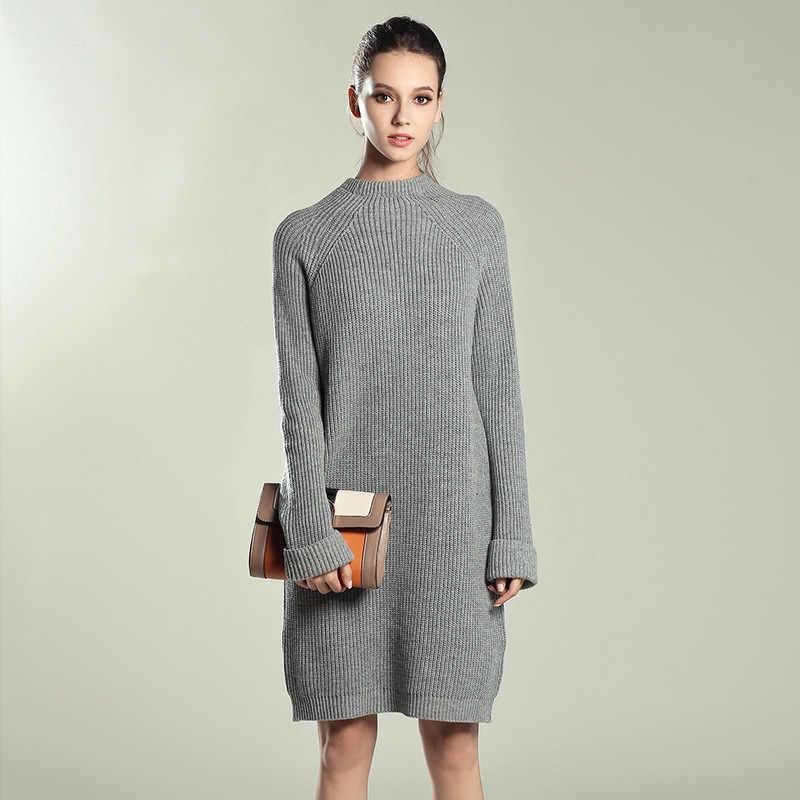 Осень-зима твердые трикотажные хлопок Платья-свитеры Для женщин модные свободные пуловер с круглым вырезом Женские вязаное платье, платье Feminino