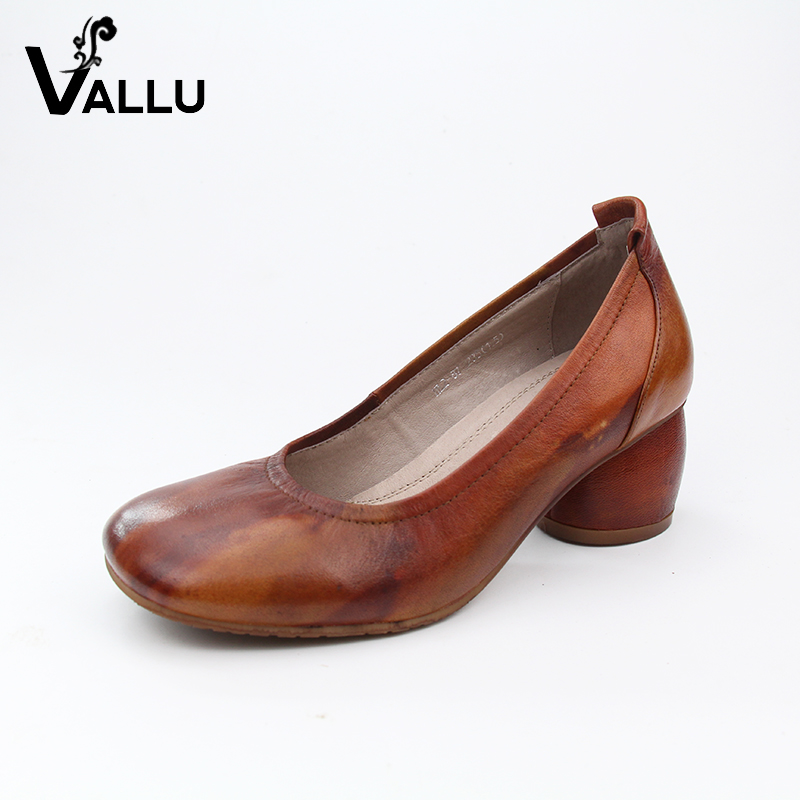 New Arrival Lady Pumps Natural Leather Female High Heel Shoes Block Heel Colourful Handmade Retro Shoes