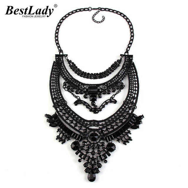 Best lady  Black Boho Statement Luxury Crystal Vintage Maxi Necklaces & Pendants Ethnic Metal Rhinestones Choker Necklace 2799