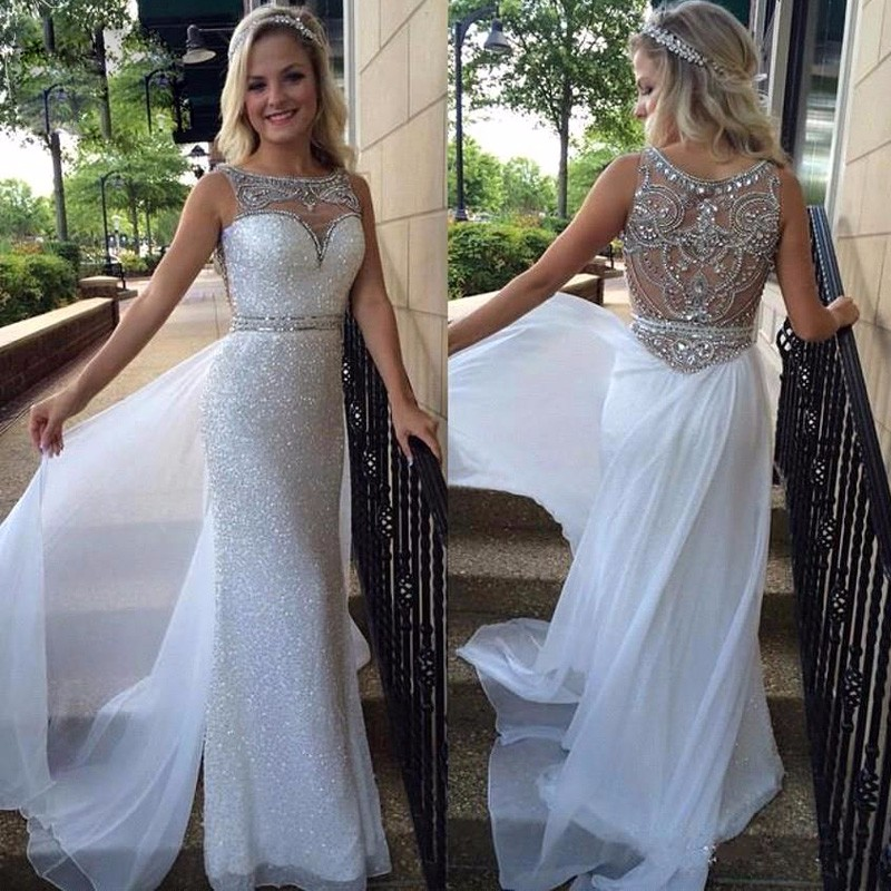 Long A Line Elegant Crystal Beaded Evening Dresses Sweetheart Sheer Illusion Sequins Skirt White Chiffon Tail Prom Party Gowns In From