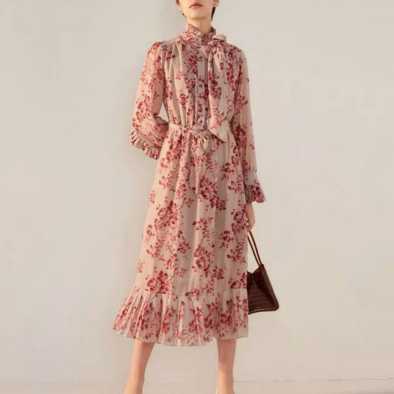 Europe Style Women s Maxi Long Dress Luxury Printed Florals 2019 Designer Ruffles Dresses For Lady