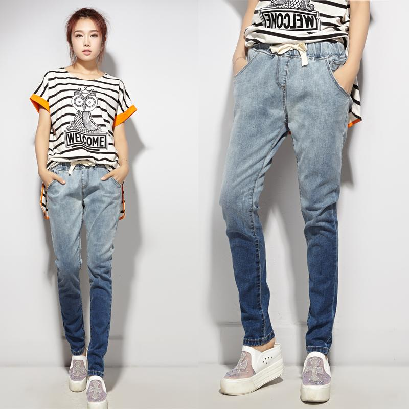 new gradient color cotton lace elastic waist jeans female feet was thin female trousers tide Fashion jeans Discount promotion