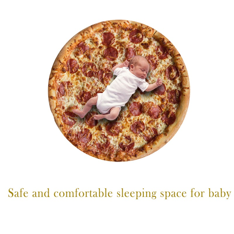 Funny Pizza Pattern Printed Round Throw Blanket Comfort Food Creations Blanket For Couch Sofa Or Bed