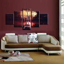 Living Room Posters Frame Painting On Canvas 5 PiecePcs Tower Night Landscape Home Decor Wall Art Modern HD Printed Pictures