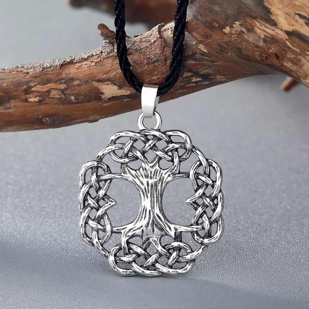 Collar de árbol de la vida Vintage Kinitial, colgantes del árbol del mundo de las cenizas, collares, colgante escandinavo Vikingo, joyería de bronce plateado