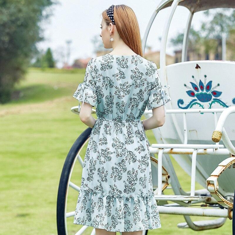 Green D'été De En Soirée Soie Kelf Femmes Manches Flim Élégante Floral Ruffle Robe D'impression Papillon amp; Robes Weyes 2017 Mousseline 0WHpgnFFq