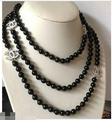 """NEW Top long 60"""" beautiful 8mm black shell pearl necklace"""