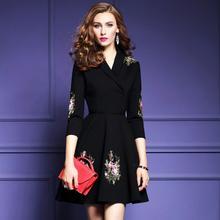 New Fashion Embroidered flower  Dresses V-collar Seven-Sleeve womens Black knee length dress