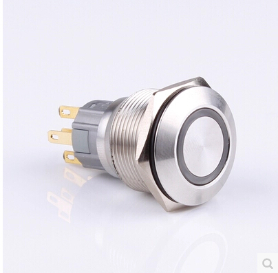 22mm metal button switch ring LED lamp stainless steel self-locking waterproof metal keyboard ylgf ps 2 super mini embedded industrial key waterproof ip65 dust anti violence stainless steel ring