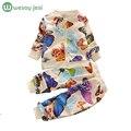 Ropa de bebé niña otoño primavera 2 unids ropa niños set niño niña Colorido mariposa juego de los cabritos ropa de manga larga traje