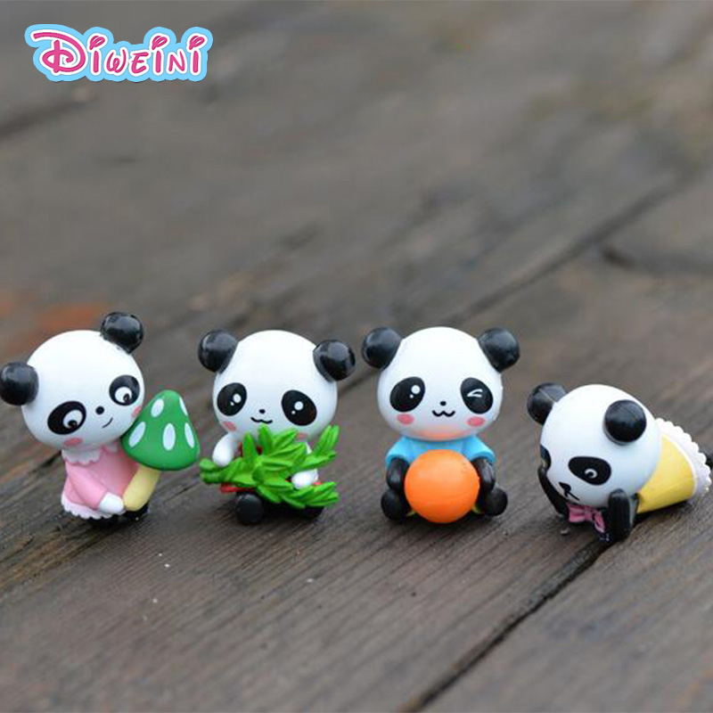Animal-Toys Figurine Craft Miniature Panda-Model Micro-Landscape-Decoration Creative