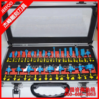 24Pcs Shank 6.35(1/4) &12.7(1/2) Professional Shank Tungsten Carbide CNC Router Bit Set heat treated blade with Wood Case box