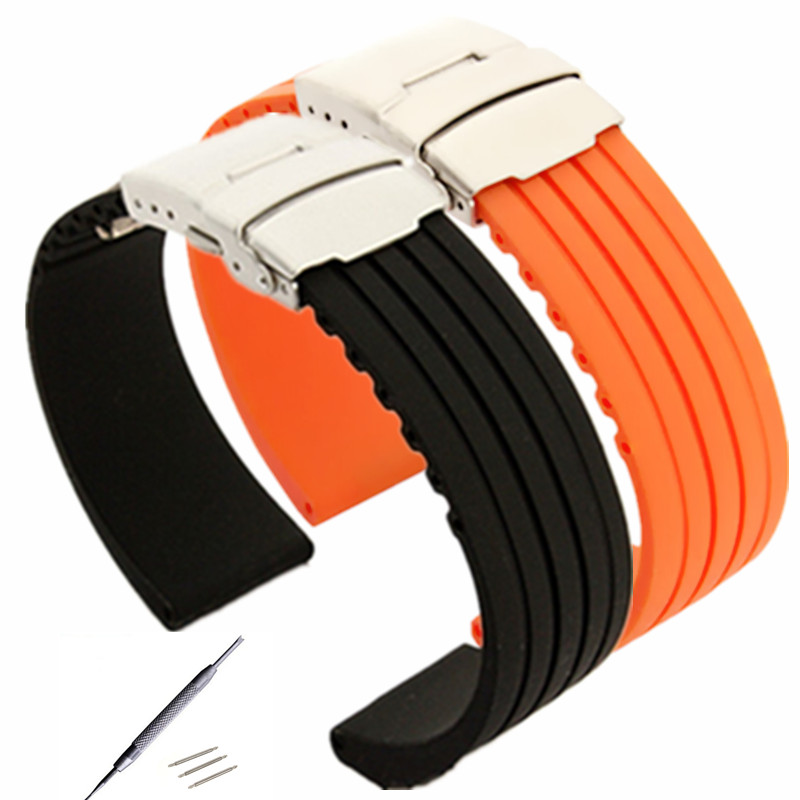 New 18 20 22 24mm Mens Women Silicone Rubber Watch Strap Band Waterproof With Deployment Clasp Buckle