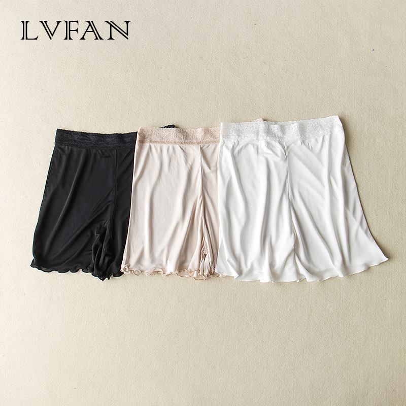 LVFAN High Quality Women Silk Bottoms Elegant Fashion Underpants Pants Real Silk Safety Pants Pajamas Female Knickers