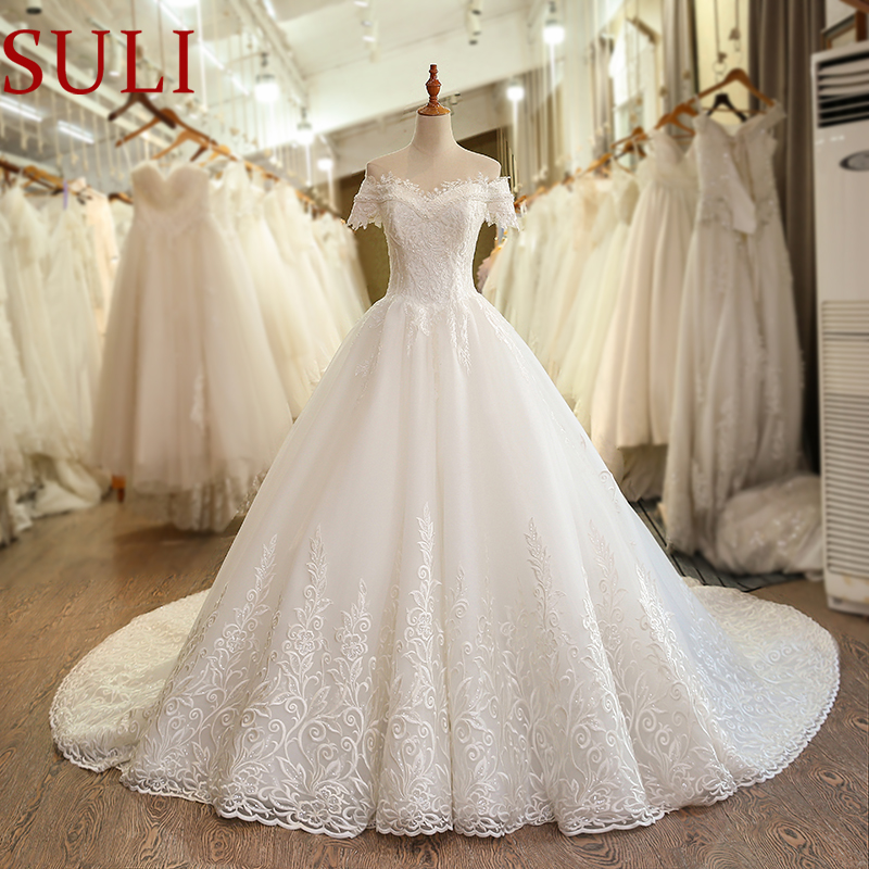SL-6048 Blingbling Boat Neck Short Sleeves Bridal Gown 2019 Plus Size Pearls Crystal Lace Wedding Dress