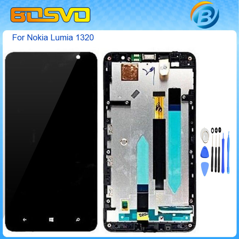 Replacement full screen for Nokia Lumia 1320 lcd display with touch digitizer glass with frame assembly black color +free tools бра lumion deodat 3471 1w