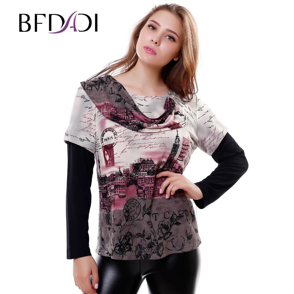 New 2015 Spring Autumn Fashion Loose Plus Size British Style Printing Women T Shirt Splice Sleeves