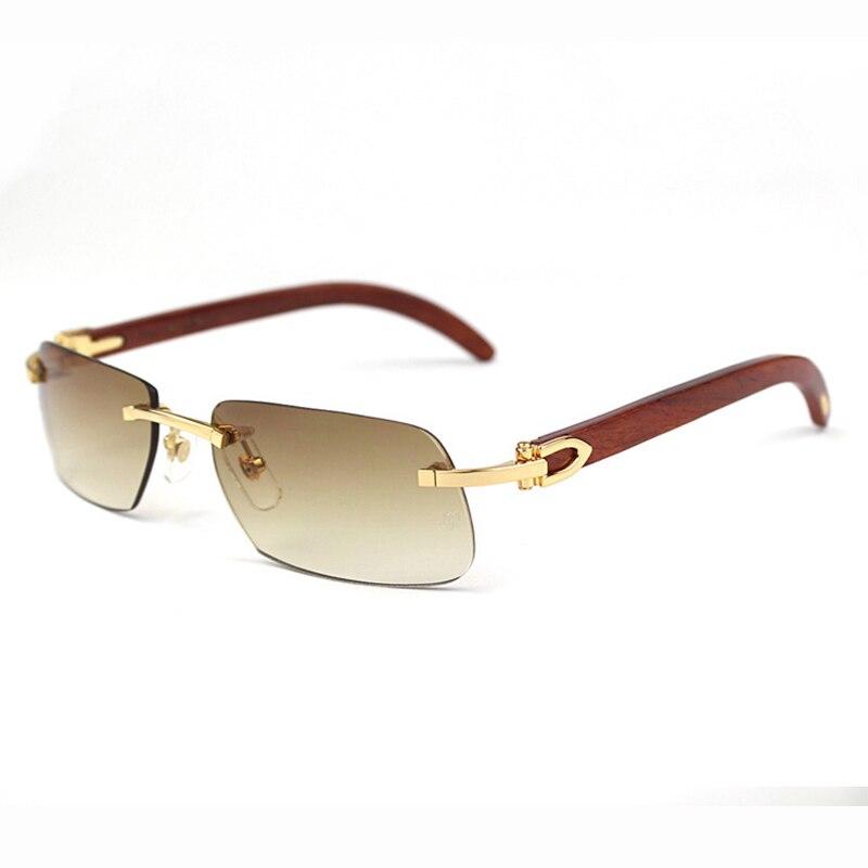 Retro Rimless Sunglasses Men Women Sun Glasses for Driving Fishing Luxury Carter Glasses Frame Buffalo Horn Sunglasses for Male