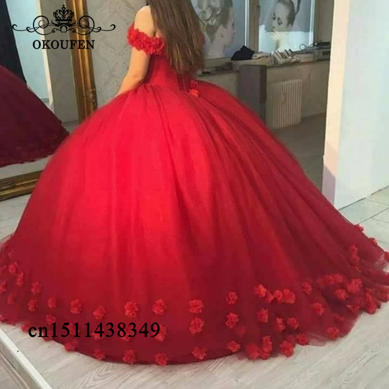 Ball-Gown Quinceanera-Dresses Puffy Princess Tulle Sweet 16 Off-Shoulder Red Formal Flowers