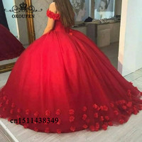 Hand Mae Rose Flowers Red Quinceanera Dresses Sweet 16 2019 Off Shoulder Puffy Ball Gown Pageant Dress Prom For Women