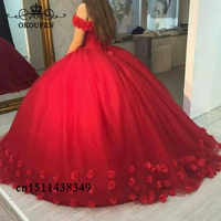Hand Mae Rose Flowers Red Tulle Quinceanera Dresses Princess Sweet 16 Off Shoulder Puffy Ball Gown Pageant Dress Prom Formal