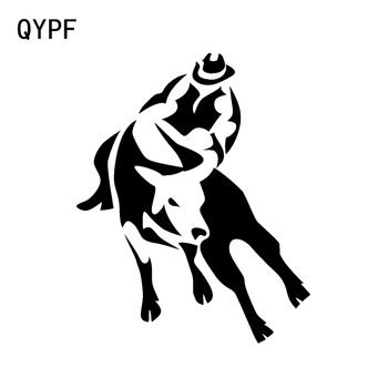 QYPF 11*13.6CM Interesting Riding Bullfight Decor Cowboy Fitness Vinyl Car Sticker Extreme Movement Graphic C16-1842 image