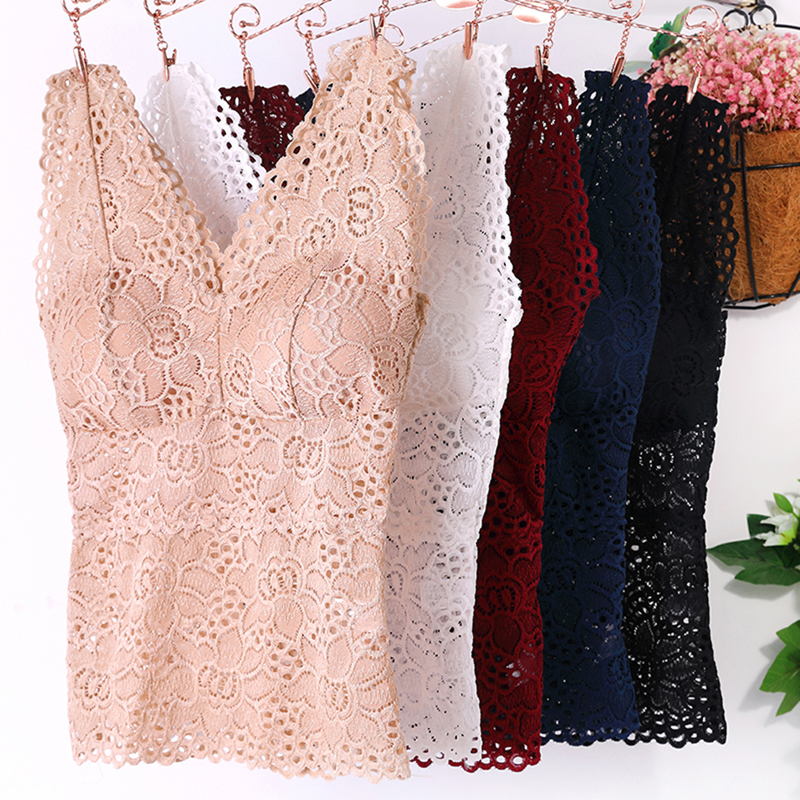 Sexy Lingerie Women Transparent Padded Bra Lace Tube Top Solid Costumes Underwear Sleepwear Lace Bottoming Camisole 4 Colors