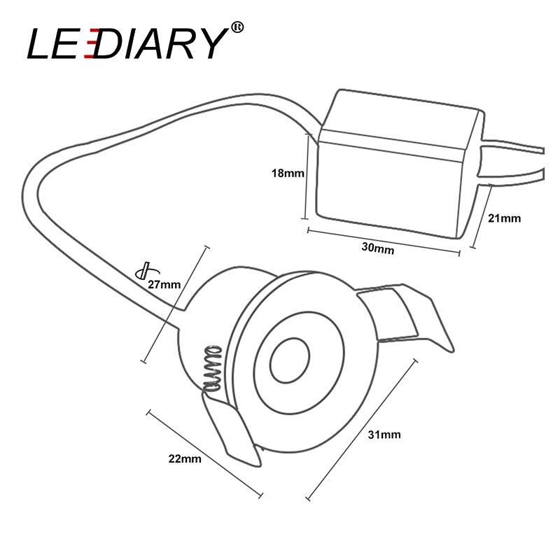 LEDIARY White Mini LED Downlight 27mm Cut Hole Under