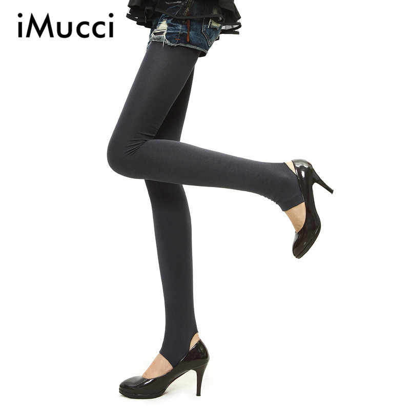 75e19b6ae88ee iMucci Women Warm Velvet Winter Skinny Slim Leggings Stretch Pant Thick  Footless Knitted Thick Slim Fitness