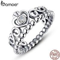 BAMOER 925 пробы серебро мой корона принцессы королевы обручальное кольцо с четким CZ аутентичные стерлингового серебра-ювелирные изделия PA7110