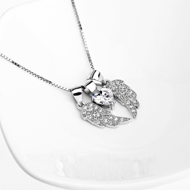 YFN 925 Sterling Silver Angel Wing Pendant Necklace White Crystal Heart Long Chain Sweat Necklace Women Jewelry Accessories