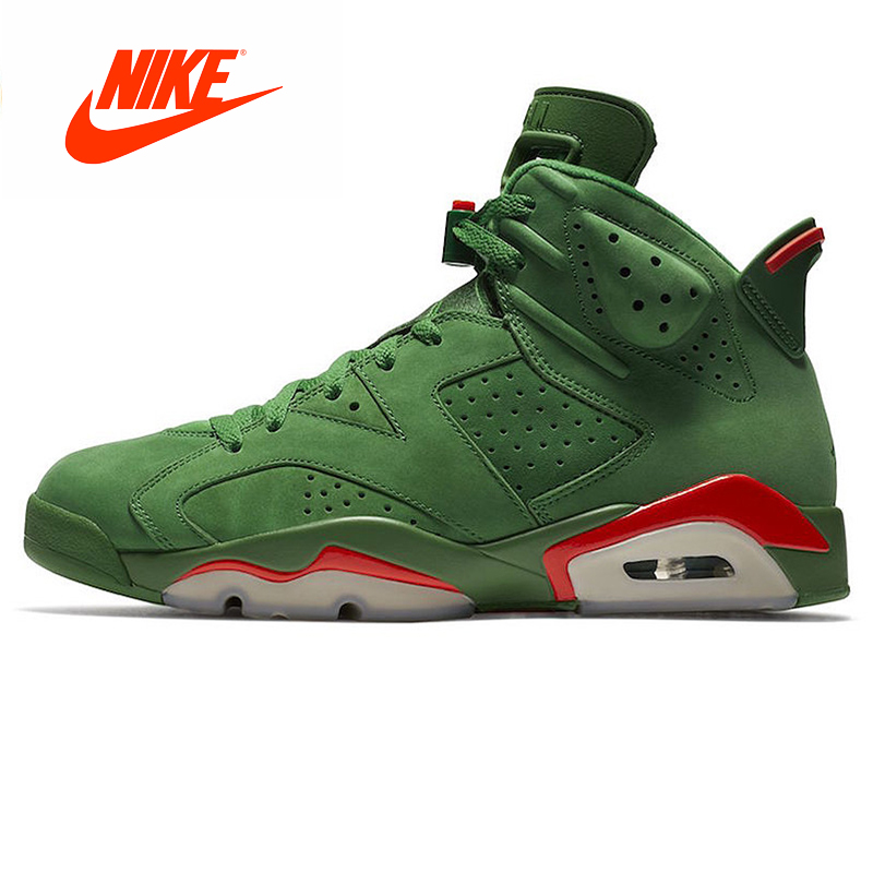 Original Nouvelle Arrivée Authentique Nike Air Jordan 6 Gatorade AJ6 Gatorade Vert Suede Hommes Chaussures de Basket-Ball En Plein Air Sneakers