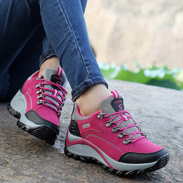 35d2f47166f51 Outdoor Hiking Boots Woman Leather Women Sneakers Trekking Waterproof Shoe  for Female Breathable Camping Plum Purple