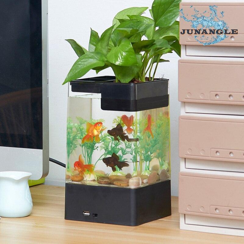 Interface USB Aquarium en plastique Mini Aquarium plantes facile à changer eau poisson bol Rack bols à poisson eau bureau décoration
