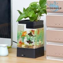USB Interface Plastic Aquarium Mini Fish Tank Plants Easy to Change Water Fish Bowl Rack Fishbowls Water Desktop Decoration
