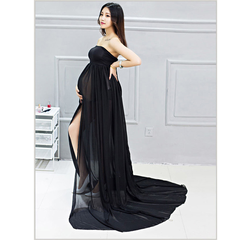 New Women Dress Maternity Photography Props Chiffon Pregnancy Clothes Maternity Split Dresses with Adjustable Strap for Pregnant