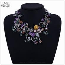 Новый Дизайн ZA Себе Чокеры Ожерелья Большой Bling Crystal Цветы Подвески Женщины Макси Kolye Bijoux